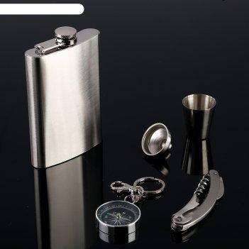 Подарочный набор 5в1 металлический: фляжка 270 мл, рюмка, компас, нож 3в1,