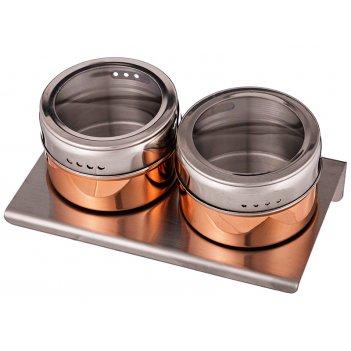 Набор для специй agness 3 пр.на магнитах+метал.подставка 14*9*5 см (кор=24