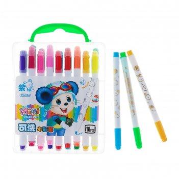 Фломастеры, 18 цветов, в пластиковом пенале с ручкой, вентилируемый колпач