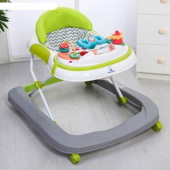 Ходунки канна, 6 силиконовых колес, муз., свет, игрушки), цвет зеленый