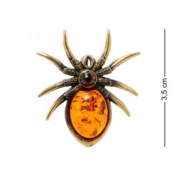 Am-1892 подвеска паук (латунь, янтарь)
