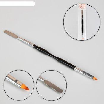 Шабер-кисть полуовал для наращивания и декора ногтей 20,5см 0,6*0,8см чёрн