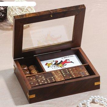 Набор игр в шкатулке (домино, карты, 5 кубиков) 16,5х12,5х5 см