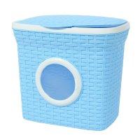 Контейнер для стирального порошка с иллюминатором 10 л ротанг, цвет голубо