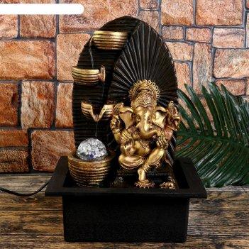 Фонтан настольный от сети, подсветка золотой ганеша у водопада с чашами 35