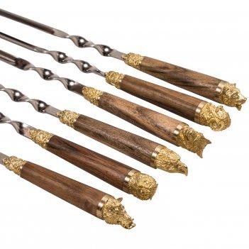 Шампуры 6шт. «разные звери» срукоятью из ореха илатуни