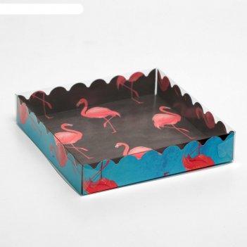 Коробочка для печенья, фламинго, чёрный, 15 х 15 х 3 см