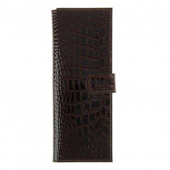 Визитница на кнопке, 2 ряда, 18 листов, крокодил, тёмно-коричневая