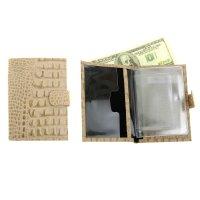 Бумажник водителя натуральная кожа, бежевый кайман