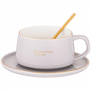 Чайная пара с ложкой lefard break time 240 мл серая (кор=24наб.)