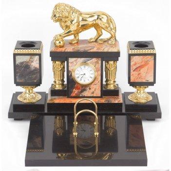 Настольный набор лев яшма долерит бронза 340х290х255 мм