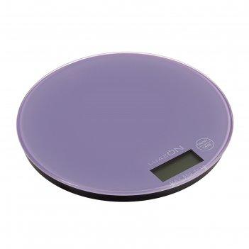 Весы электронные кухонные luazon lvk-506 до 5 кг, круглые, стекло, фиолето