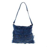 Сумка молодежная джинс, 1 отдел, наружный карман, длинный ремень, цвет син