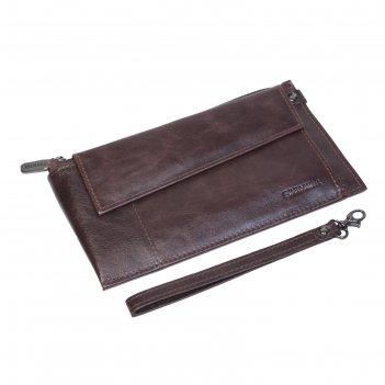 Клатч мужской, 2 отдела, на молнии, с ручкой, цвет коричневый