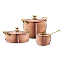 Набор посуды из 3-х предметов, медь, олово, с бронзовой декорированной руч