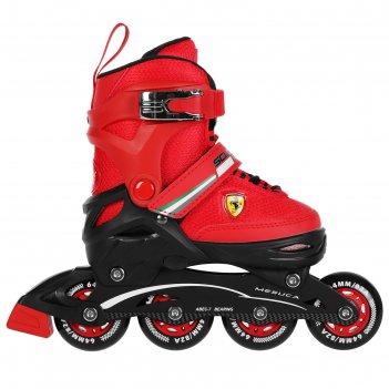 Роликовые коньки ferrari р. 30-33, колеса pu, abec 7, цвет красный