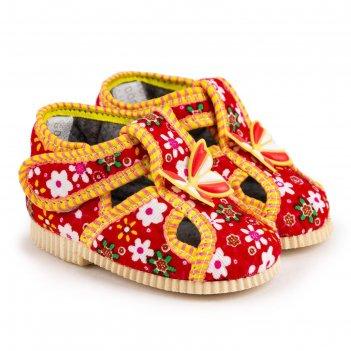 Тапочки детские, цвет красный/цветочек, размер 24