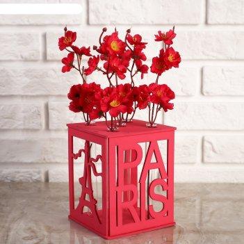 Ящик-кашпо подарочный с 5 колбами париж, розовый