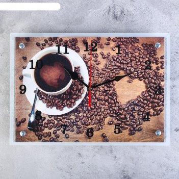 Часы настенные, серия: кухня, чашка кофе, 25х35  см, микс