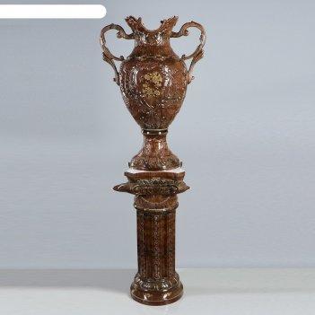 Ваза напольная форма астория большая на колонне 170 цвет малахит коричневы