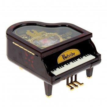 Шкатулка музыкальная пластик рояль 12х14х9 см