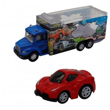 Набор грузовик + машинка die-cast, красная, спусковой механизм