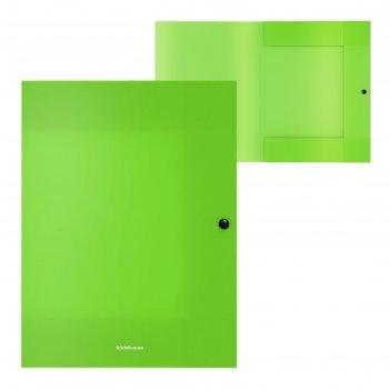 Папка на кнопке а4 8мм зеленая, пластик, 3 клапана erichkrause, neon 47243