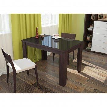 Бостон стол раскладной, 1200(1500)х800 мм, венге/стекло черное