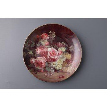 Тарелка настенная декоративная букет роз диаметр...