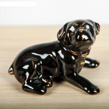 Статуэтка собака бульдог мини глянец чёрный