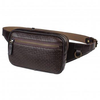 Поясная сумка, 2 отдела на молнии, регулиуремый ремень, цвет коричневый