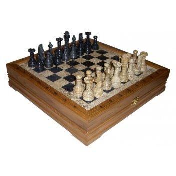 Rtg-5387 шахматы каменные малые (высота короля 3,10).