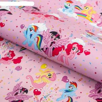 Бумага упаковочная глянцевая двусторонняя, my little pony, 60x90 см