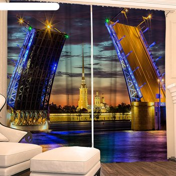 Фотошторы разводные мосты 145х260 см 2шт, габардин 160гр/м2, пэ100%