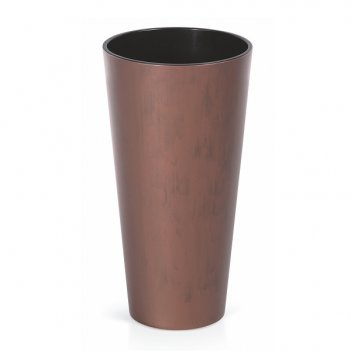 Кашпо для цветов prosperplast tubus slim corten 64+35л, кортен сталь