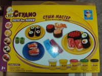 "1toy студио, набор теста для лепки с трафаретами ""суши-мастер"","