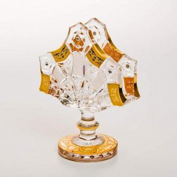 Салфетница снежинка с золотой росписью 14 см
