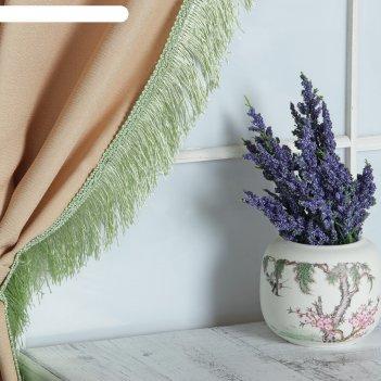 Тесьма для штор бахрома широкая, 12м, ширина 6,5см, цвет светло-зелёный