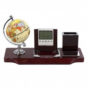 Настольный набор (часы, глобус, карандашница, магнит для скрепок), l35 w17