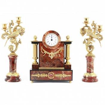 Каминные часы с канделябрами колибри яшма