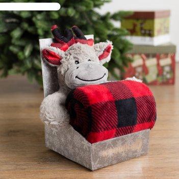 Плед с игрушкой крошка я «новогодний олень» 75x100 см, 100% п/э