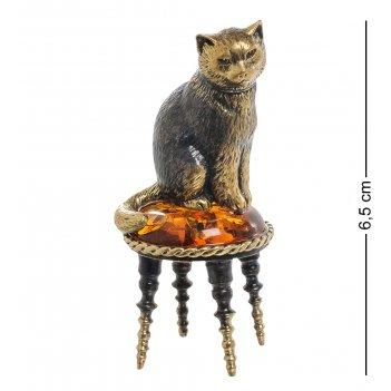 Am-1941 фигурка кот на пуфике (латунь, янтарь)