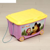 Ящик для игрушек на колесах маша и медведь с аппликацией, цвет сиреневый