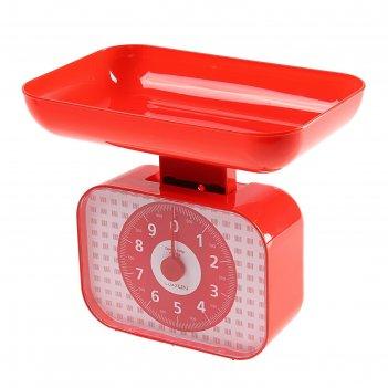 Весы кухонные luazon lvkm-1001, механические, до 10 кг, чаша 1200 мл, крас