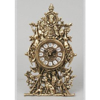 Часы из бронзы virtus сцены охоты золото 29х17см 5102