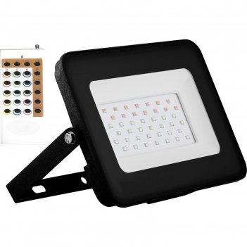 Прожектор светодиодный с пультом ду ll-613, 50 вт, rgb, ip65, цвет черный,