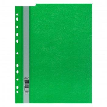 Папка-скоросшиватель а4, 140/180 мкм, hatber, зелёная, с перфорацией