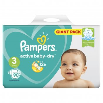 Подгузники pampers active baby 3 midi, (4-9 кг), 90 шт