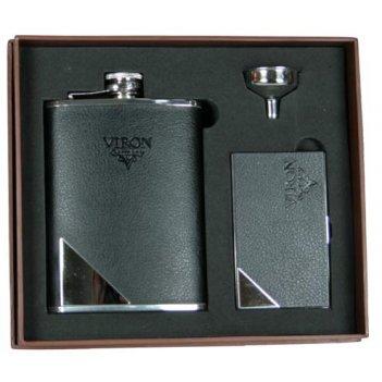 """Подарочный набор """"viron"""": фляжка 230мл, воронка, визитница 21*18"""
