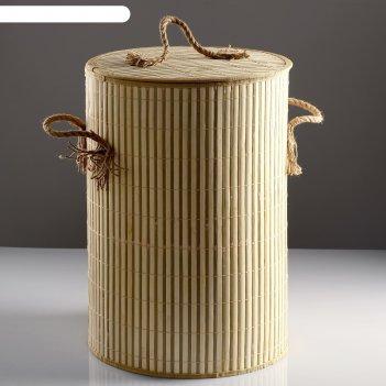 Корзина для белья, с крышкой и ручками, складная, 39x39x56 см, бамбук, джу